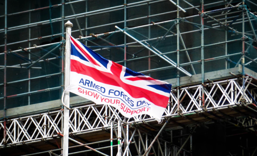 A flag with a Union Jack emblem supporting the armed forced in Britain