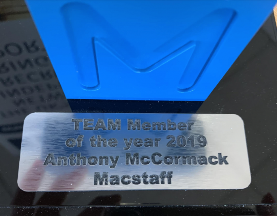 The TEAM member of the Year award 2020 with Anthony McCormack inscribed on a silver background