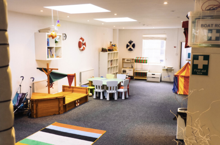 A room with children's toys and rest area in